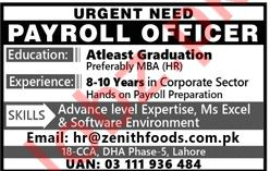Zenith Food Company Payroll Officer Job Opportunities