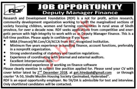 Research and Development Foundation RDF NGO Jobs 2018