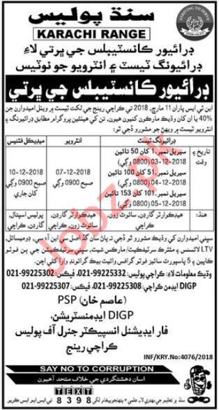Sindh Police Karachi Range Driver Constable Jobs 2018
