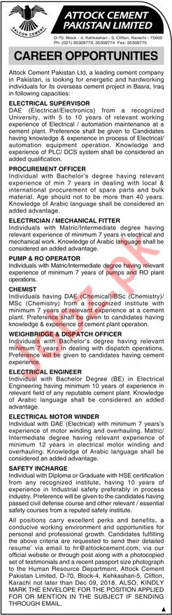 Attock Cement Pakistan Ltd Electrical Supervisor Jobs