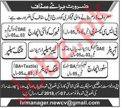 Fabric Quality Incharge Jobs at Manufacturing Factory
