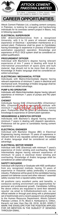 Attock Cement Pakistan Limited Jobs