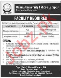 Management Science Professor Jobs at Bahria University
