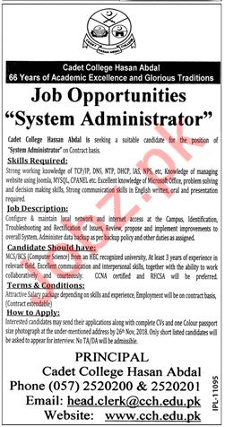 System Administrator Jobs at Cadet College Hassan Abdal