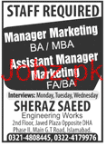 Manager Marketing and Assistant Manager Marketing Wanted