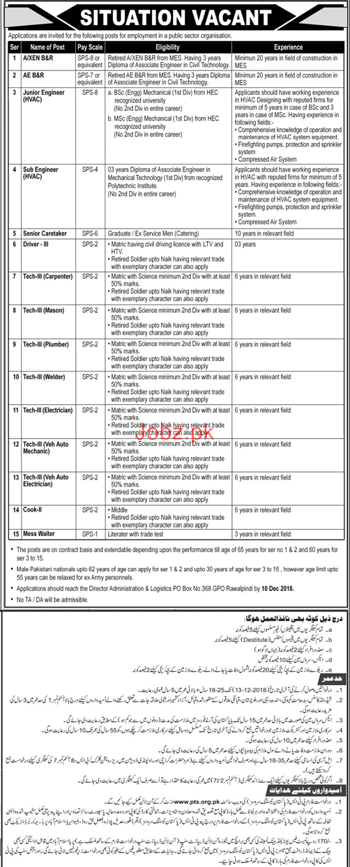 Junior Engineer, Sub Engineer, Senior Care Taker Wanted