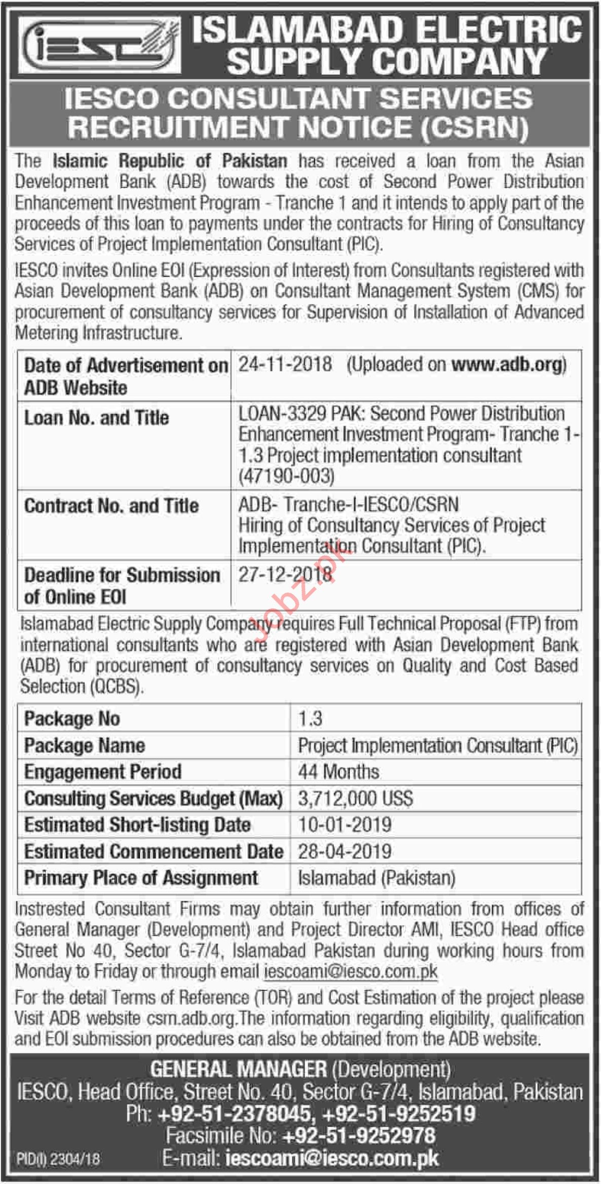 IESCO Islamabad Jobs 2018 for Consultants