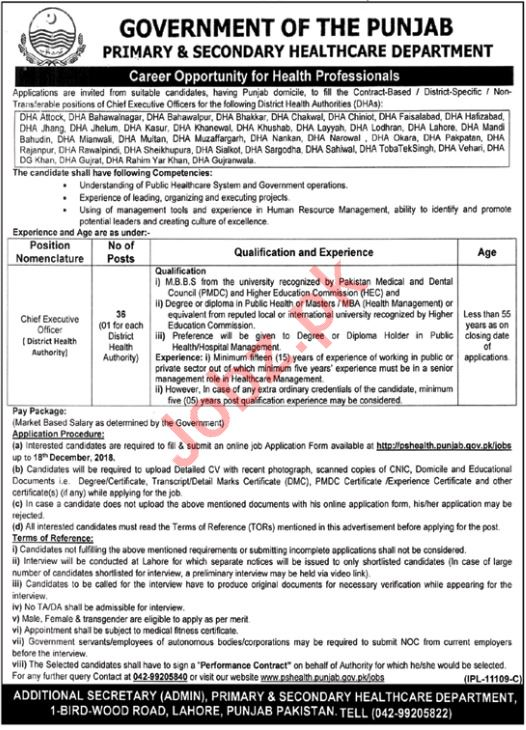 Primary & Secondary Healthcare Department Rawalpindi Jobs
