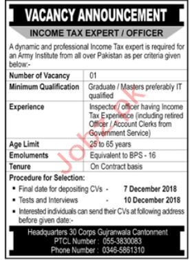 Income Tax Expert Jobs in Army Institute