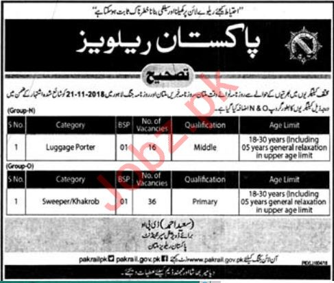 Pakistan Railways Multan Jobs 2018 Luggage Porter & Sweeper