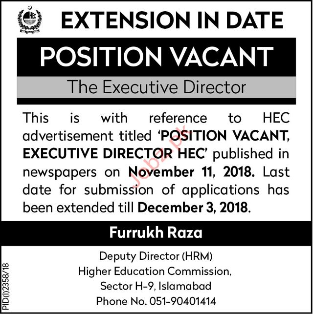 Higher Education Commission HEC Executive Director Jobs 2018