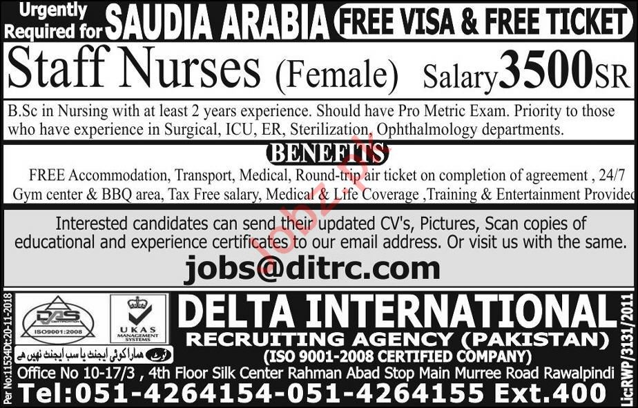 Staff Nurses Jobs 2018 in Saudi Arabia 2019 Job Advertisement Pakistan