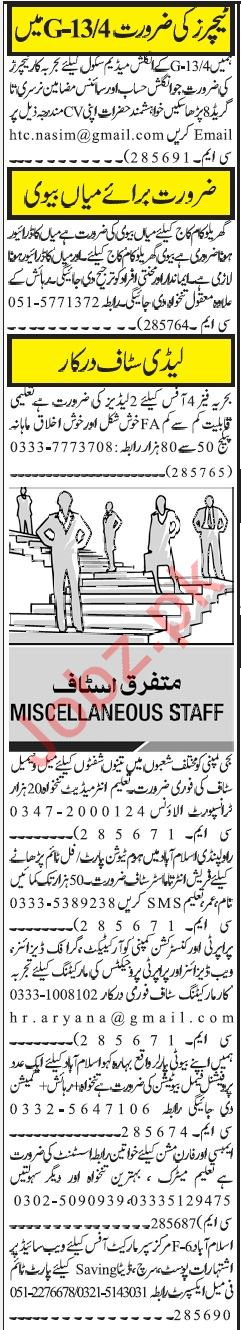 Miscellaneous Staff Jobs 2018 in Islamabad
