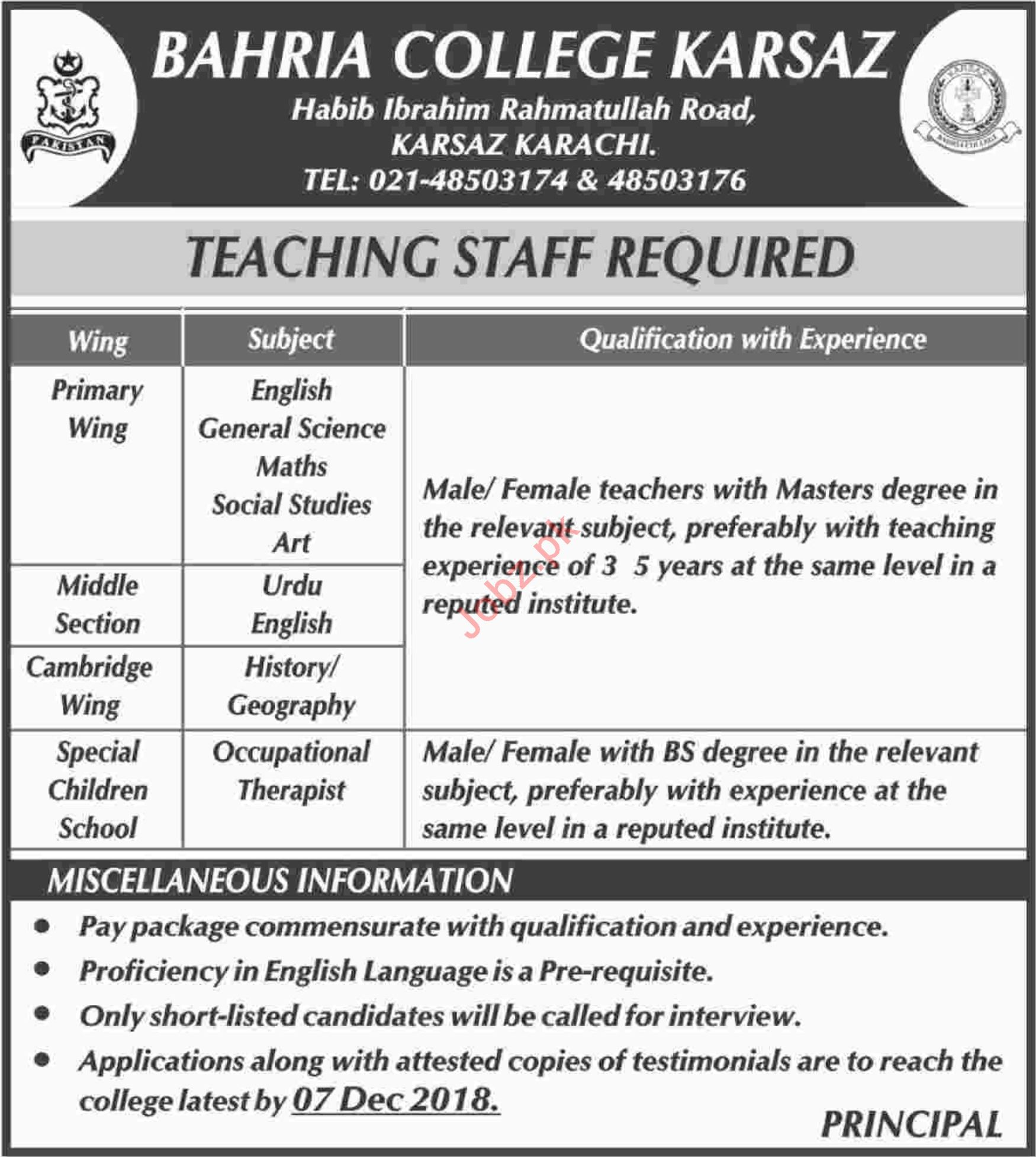Bahria College Karsaz Jobs 2018 for Teachers 2019 Job