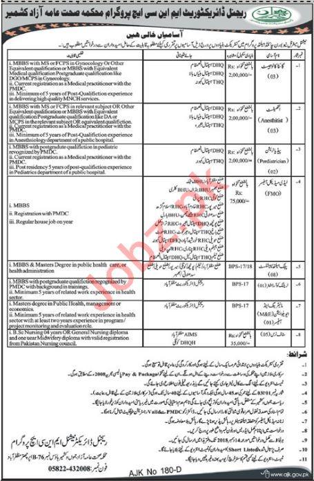 Regional Directorate MNCH Program Muzaffarabad Jobs 2018