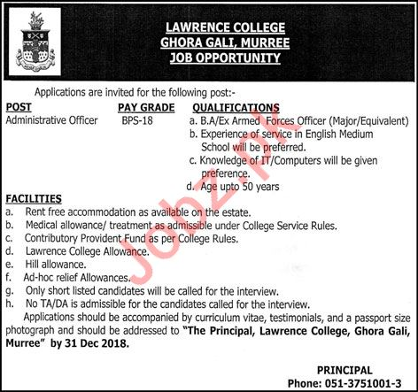 Lawrence College Administrative Officer Job 2018