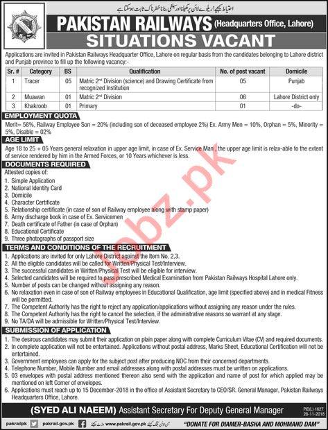 Pakistan Railways Jobs 2018 in Lahore