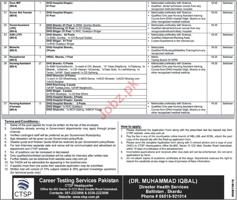 Directorate of Health Services Baltistan Region Skardu Jobs