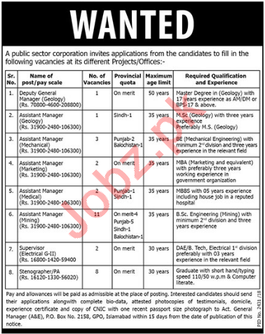 Public Sector Organization Islamabad Jobs 2018 for Managers