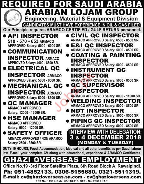 API Inspector, Civil QC Inspector & QC Inspectors Jobs