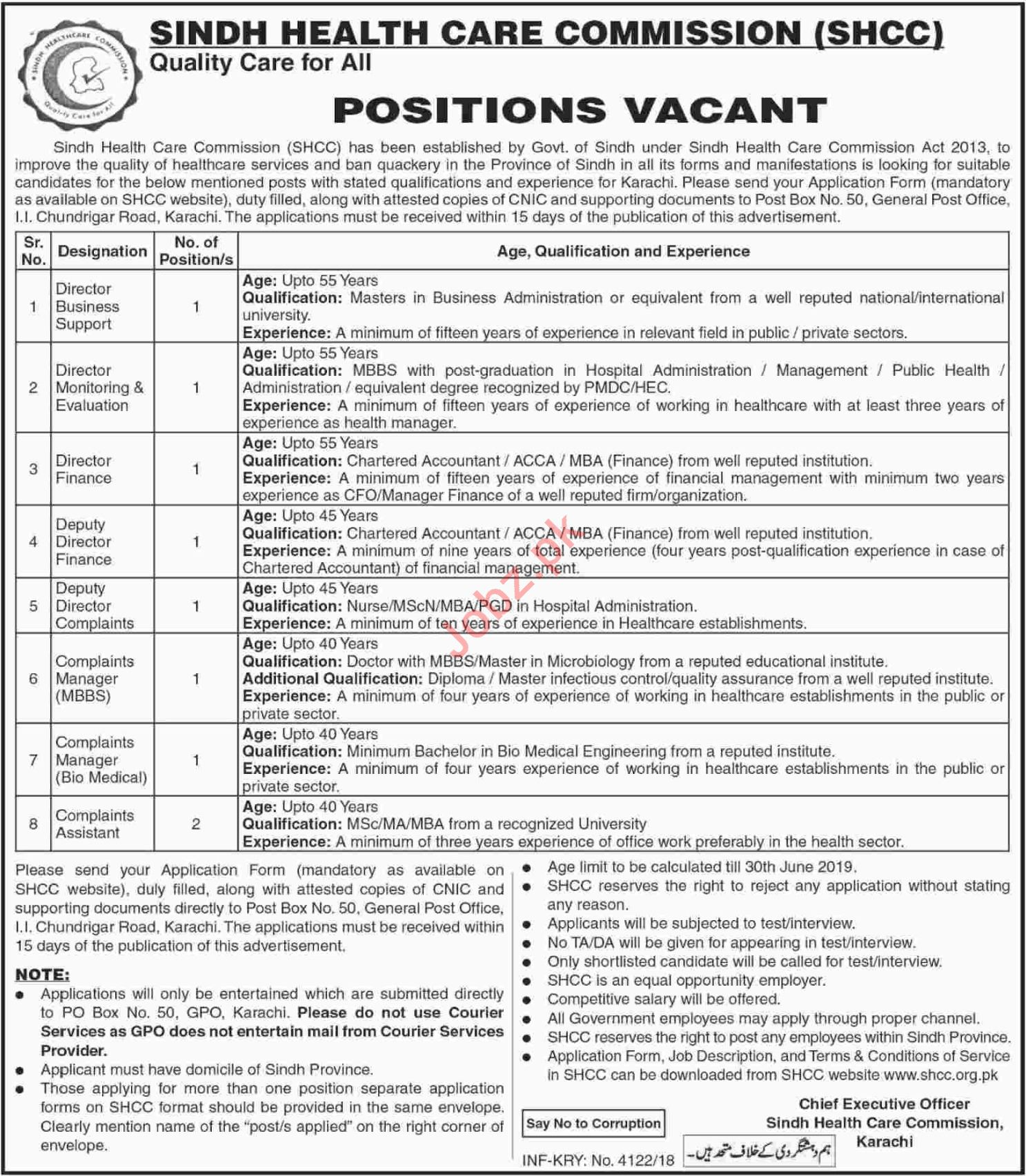 Sindh Health Care Commission SHCC Jobs December 2018