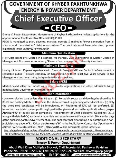 energy  u0026 power department ceo job 2018 in kpk 2019 job