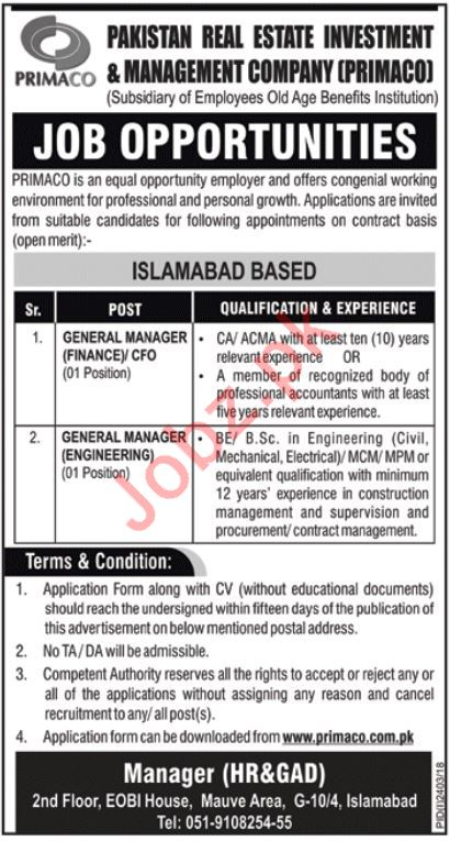 PRIMACO Jobs 2018 For General Managers in Islamabad