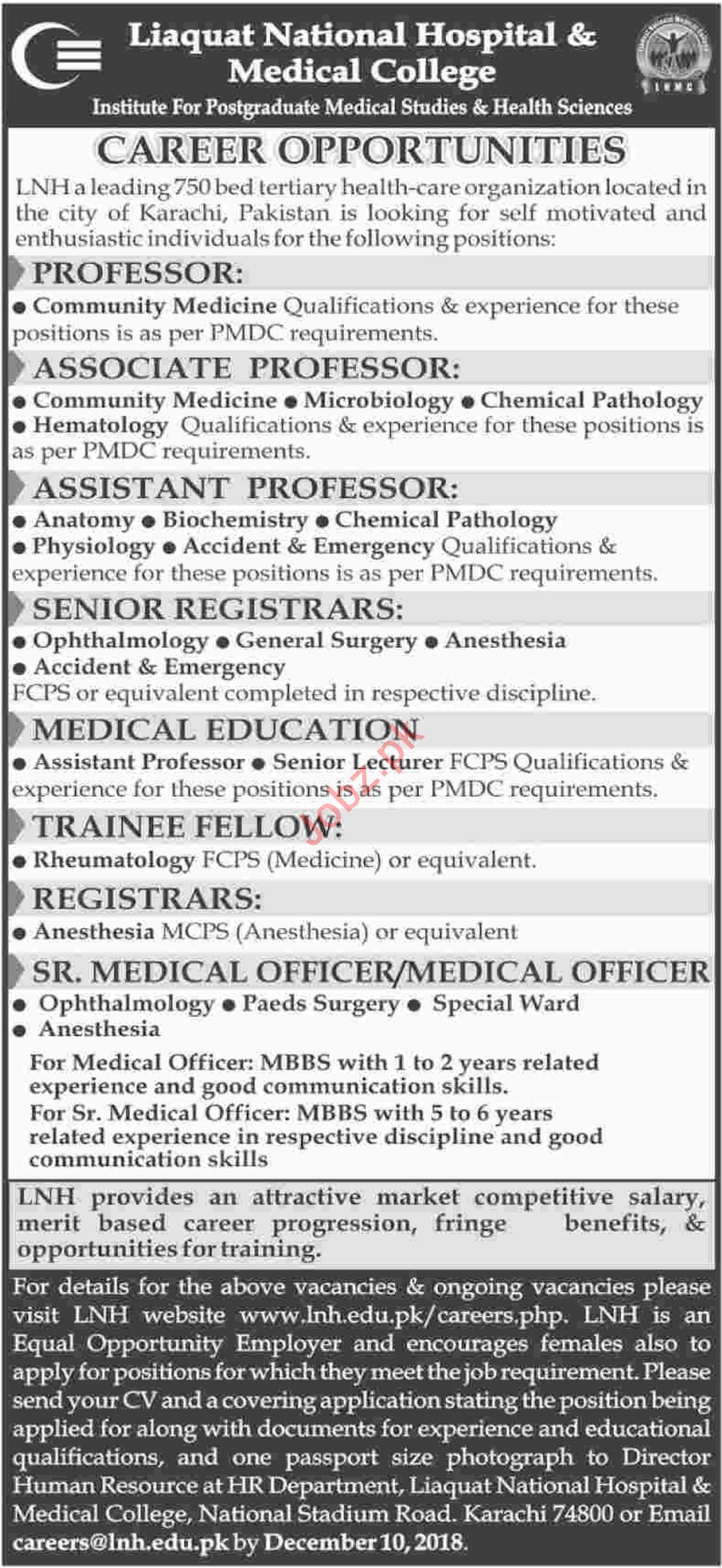 Liaquat National Hospital & Medical College Faculty Jobs