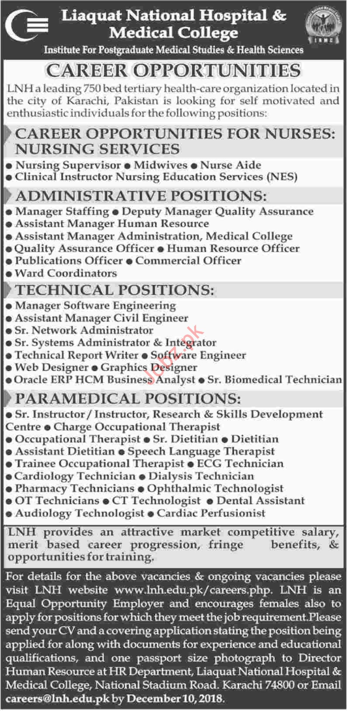 Liaquat National Hospital & Medical College Medical Jobs