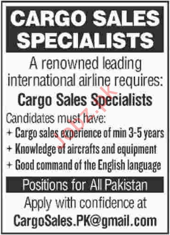 Cargo Sales Specialist Jobs at International Airline