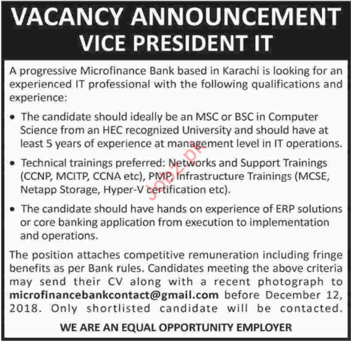 Vice President IT Jobs at Microfinance Bank