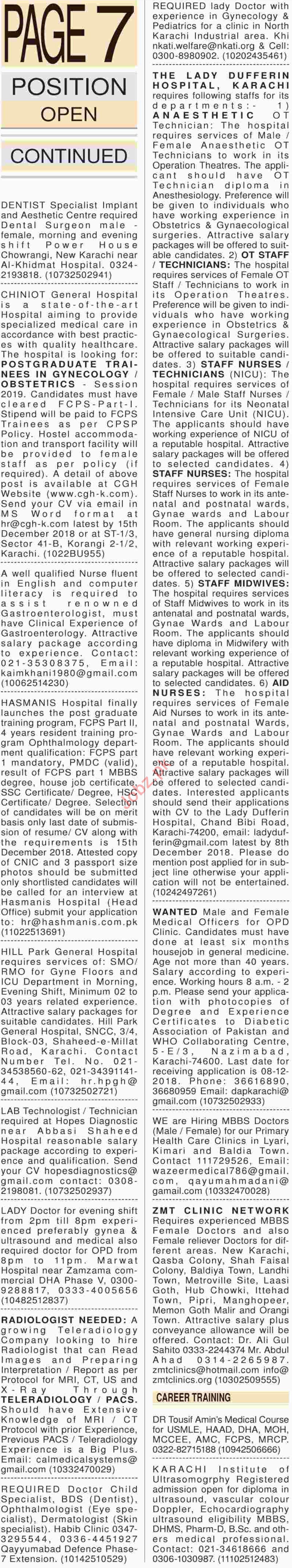 Dawn Newspaper Sunday Medical Classified Jobs 2/12/2018