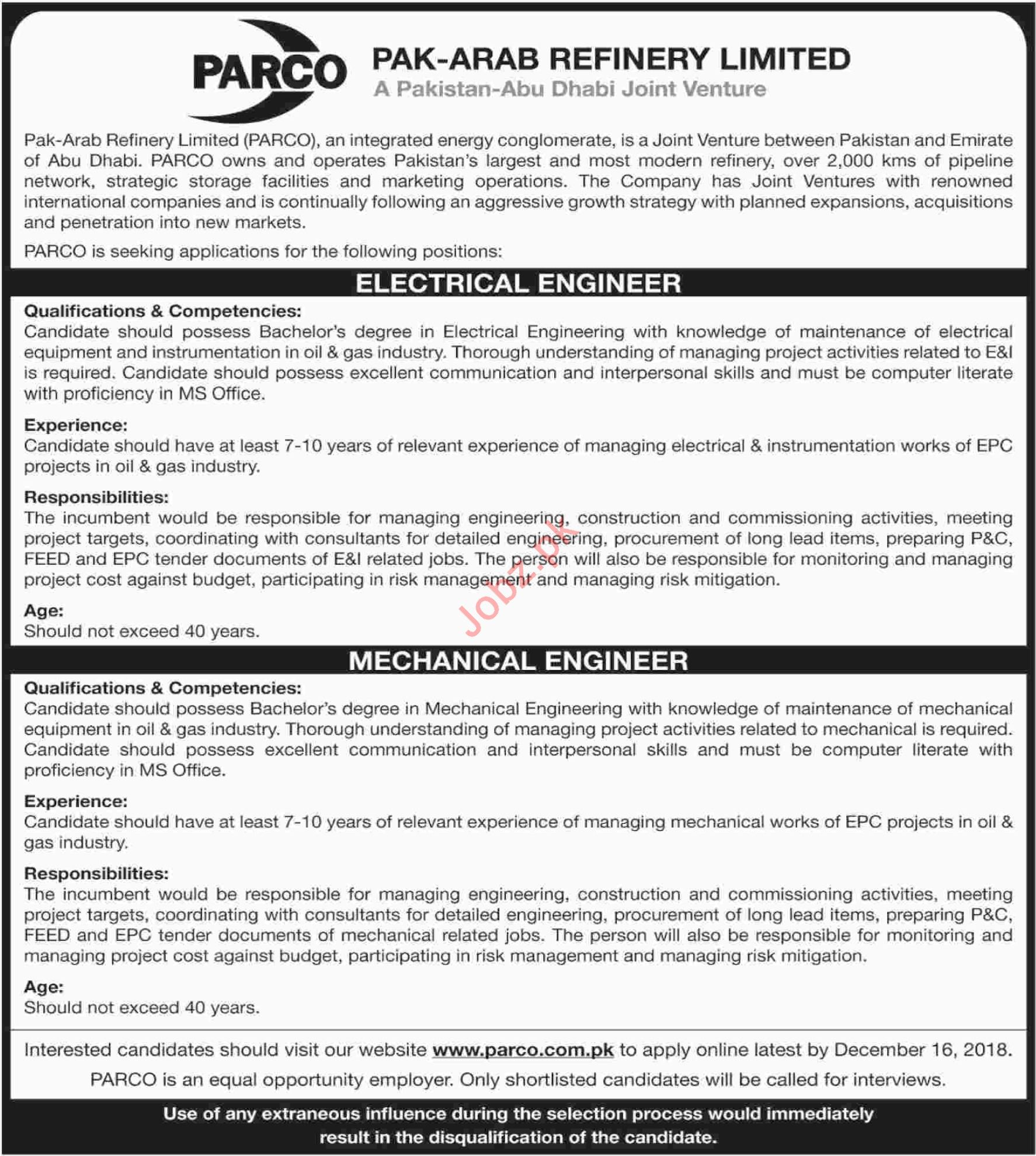 electrical engineer jobs at parco 2019 job advertisement