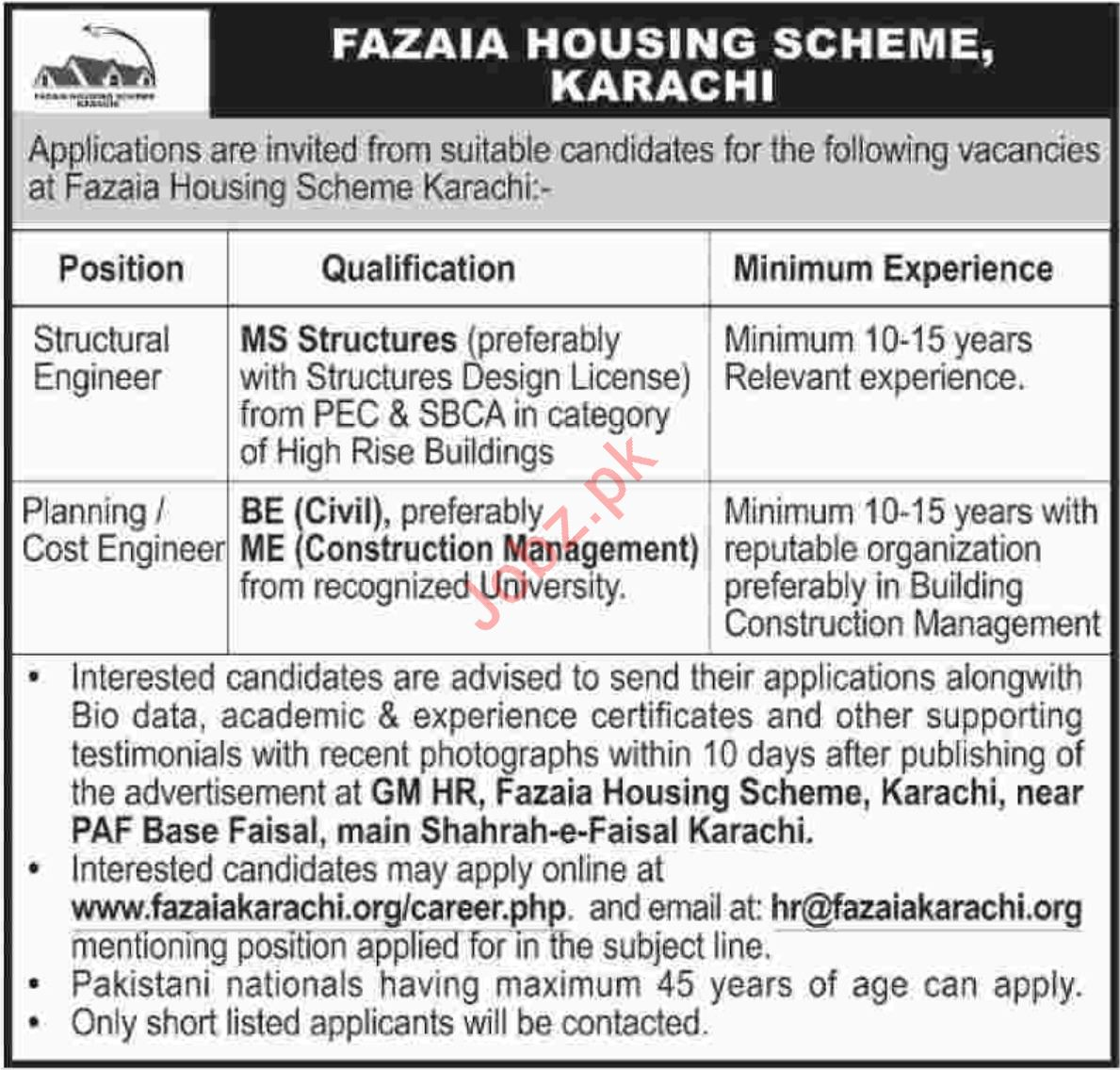 Fazaia Housing Scheme Structural Engineer Jobs