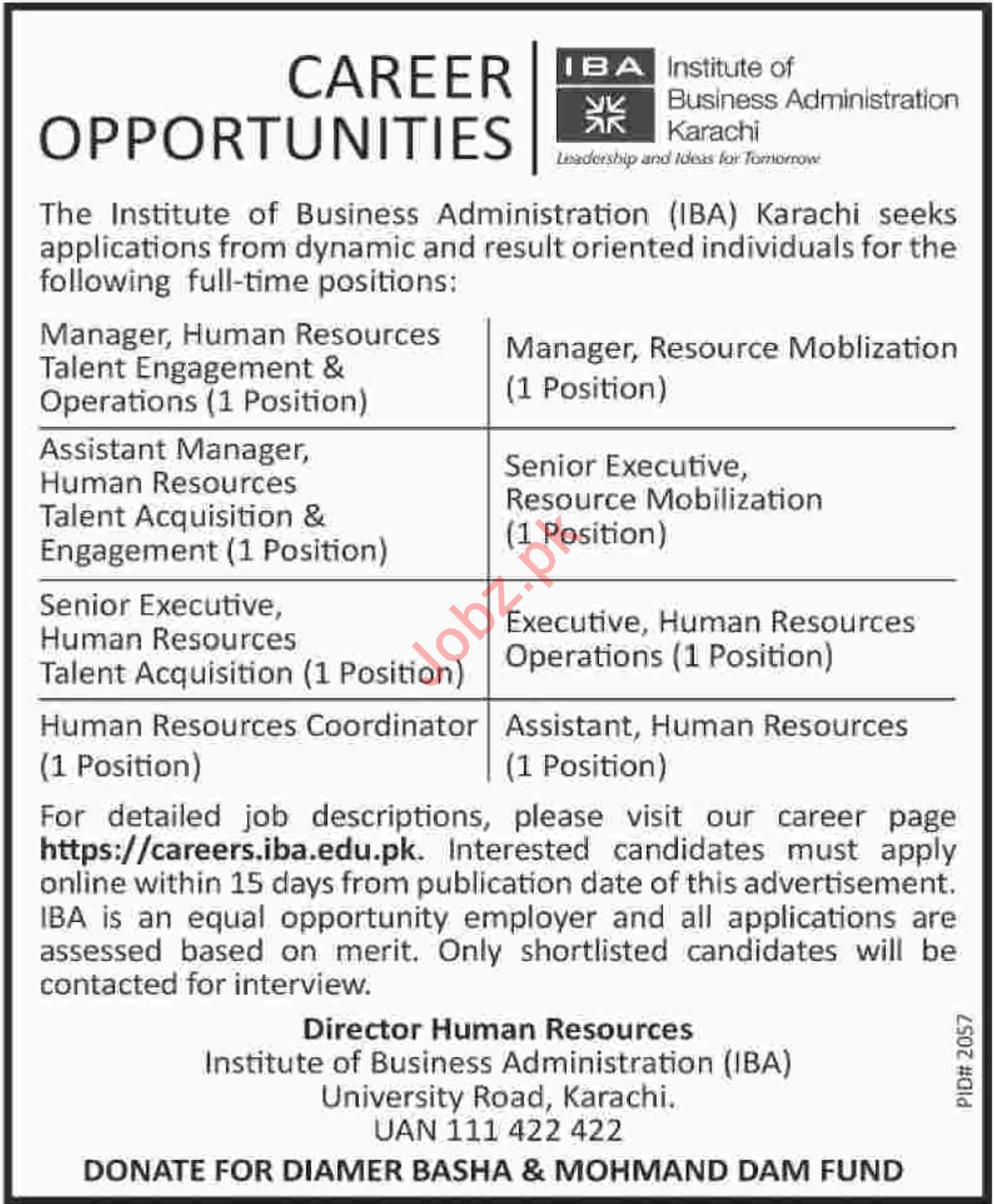 Institute of Business Administration IBA Manager HR Jobs