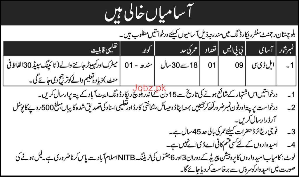 Balochistan Rejment Center Record Wing Jobs Open