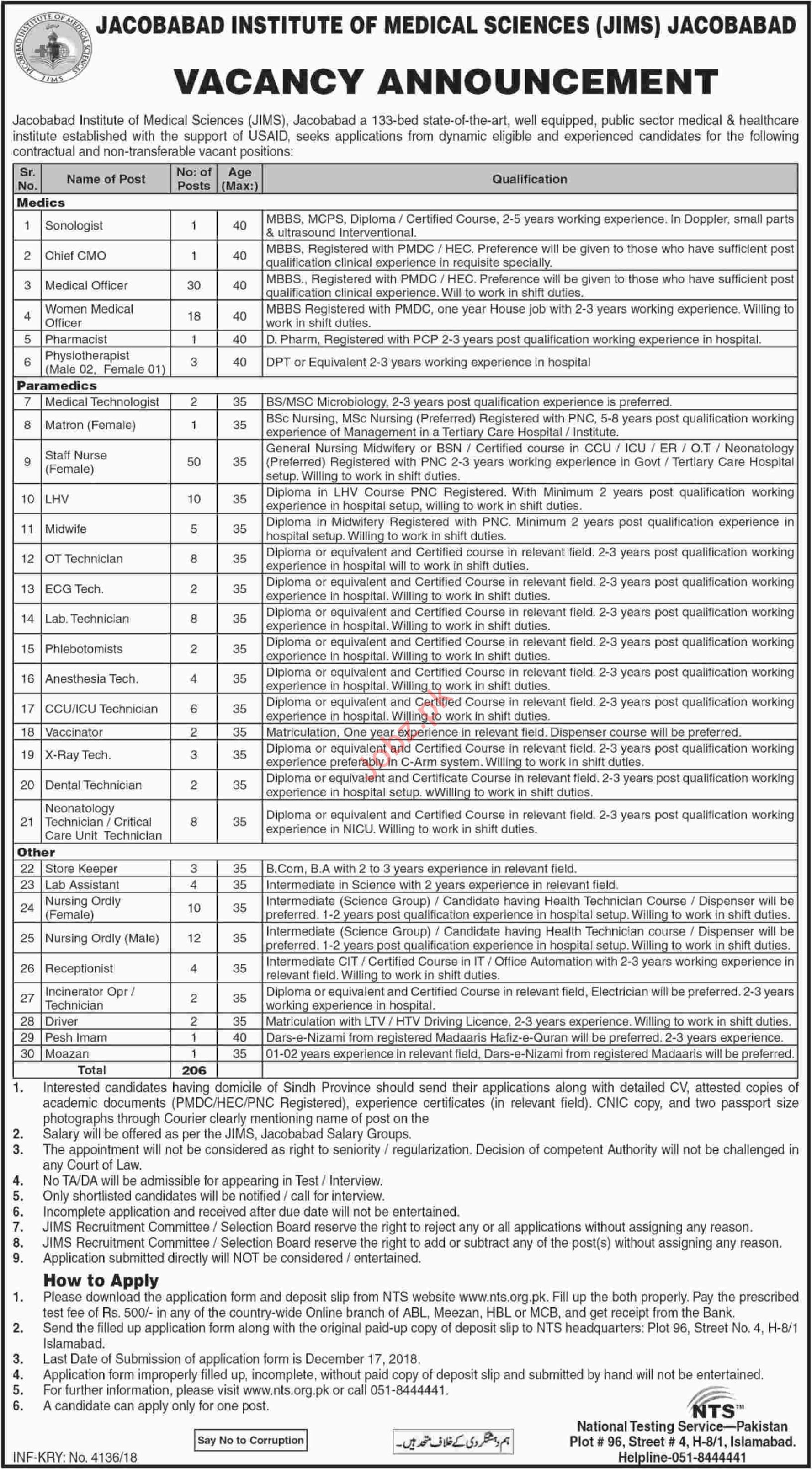 206 Hospital Jobs in JIMS in Jacobabad