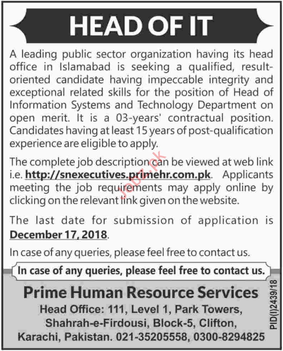 Head of IT Jobs at Prime HR Services