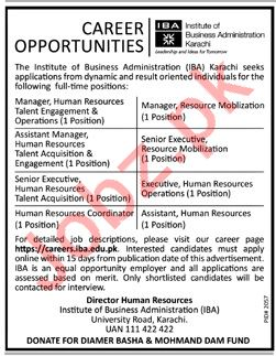 Institute of Business Administration IBA Manager HR Careers