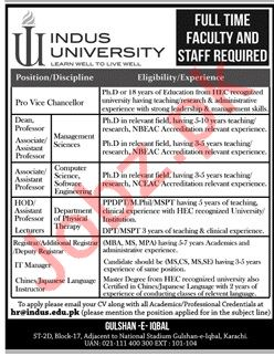 Indus University Pro Vice Chancellor Jobs