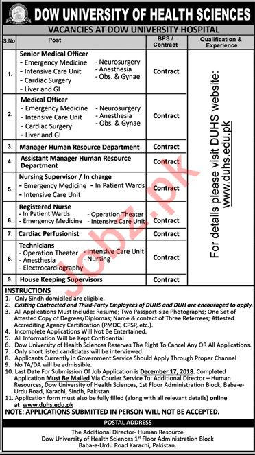 Dow University Hospital Medical Officer Careers
