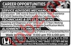 Honda Township Lahore Jobs 2019 for Technicians