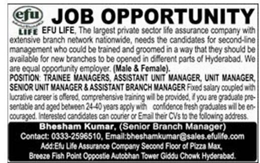EFU Life Assurance Company Management Jobs 2019