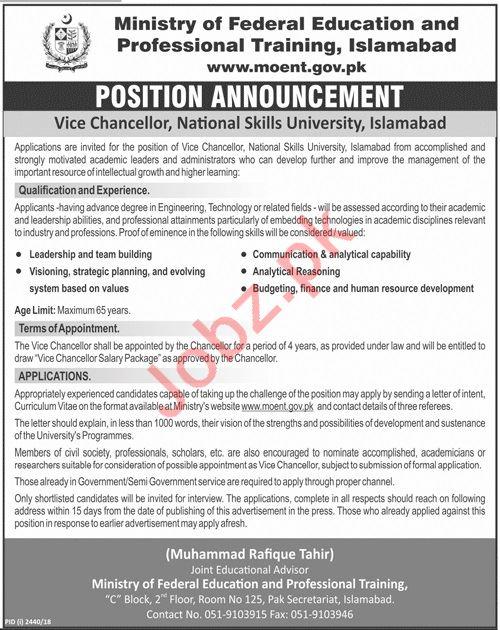 Vice Chancellor Jobs at National Skills University
