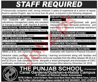The Punjab School Gulshan e Habib Teachers Jobs 2019