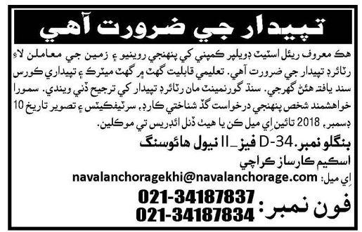 Patwari Jobs in Real Estate Company