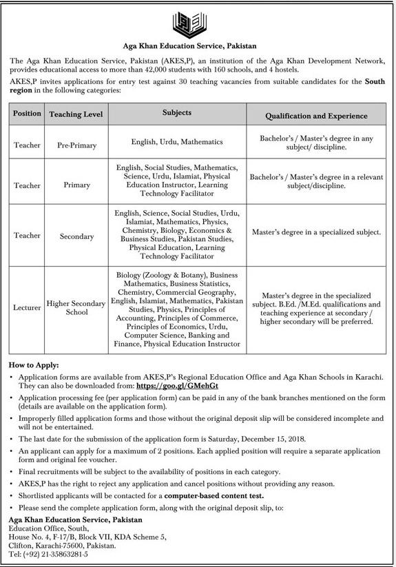 The Agha Khan Education Services AKESP Teaching Jobs 2019
