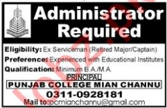 Administrator Jobs at Punjab College Mian Channu