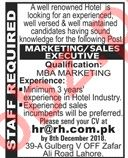 Marketing / Sales Executive Job 2018 For Hotel in Lahore