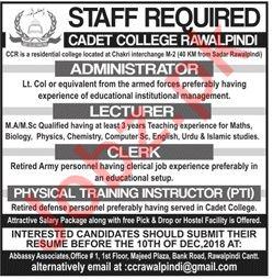 Cadet College Rawalpindi Jobs 2018